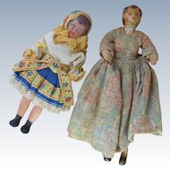 Two Early Doll House Dolls