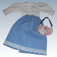 Vintage 3 Piece Doll Outfit Blouse Skirt And Quilted Purse