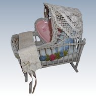 Wicker Doll Cradle With Bed Linens