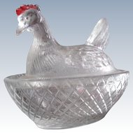 Vintage Glass Chicken in a nest Hen in a Basket Minature Doll Size