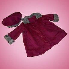 Vintage Burgundy Wool Coat and Hat To Repair and Restore