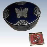 Tin  Box Embossed Butterfly Lid And  Gold Colored Pill Box Miniatures
