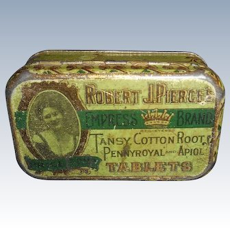 Vintage Doll Size Tin With Lid Nice Graphics And Color