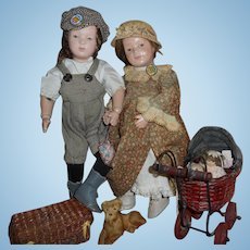 Antique Wood Schoenhut Boy And Girl With Pets And Accessories Original  Schoenhut Pin