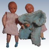 Two Vintage Miniature Dollhouse Dolls