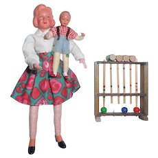 Vintage Dollhouse Mother Boy And Croquette Game