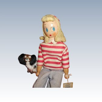 Vintage Schoenhut Wood Doll Clo Pinn And Papillon Puppy Friend
