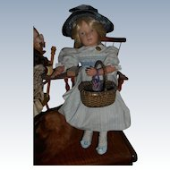 Doll Size Green Woven Basket