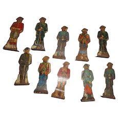 1930 's 10 Marx Tin Lithographed  Soldiers of Fortune Boy Doll Toy Figures