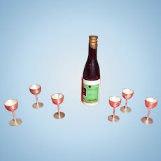 Miniature Bottle And Goblets For Dollhouse