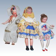3 Vintage Dollhouse Ethnic Dolls