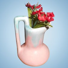 Miniature Doll Size Pink And Blue Vase