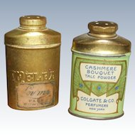 2 Miniature Brass Powder Tins Doll Size