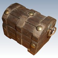 Miniature Doll Size Wood Trunk With Baby and Toys Free Shipping