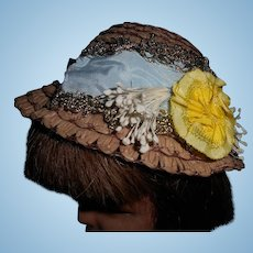 Sweet Vintage Brown Straw Hat With Flowers