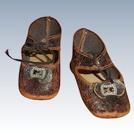 Old Brown Leather German Style Shoes With Toe Buckles