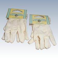 Two Pair White Cotton Garden Gloves Doll Size