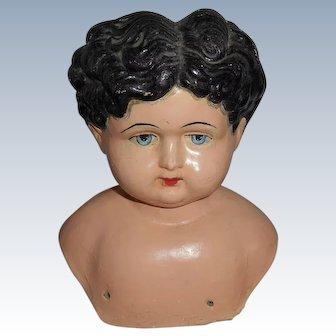 Large German Paper Mache Doll Head
