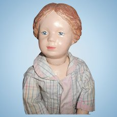 Antique Wood Schoenhut Character Face Girl With Braids