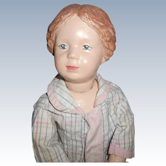 Antique Wood Schoenhut Character Face Girl With Braids