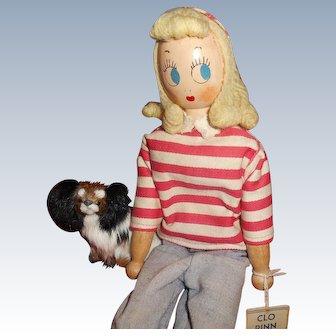 Vintage Schoenhut Wood Doll Clo Pinn And Papillon Puppy Friend Free Shipping