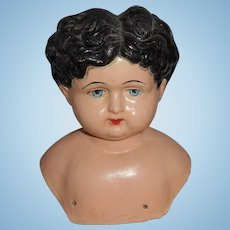 Very Large  Early Paper Mache Head  For large Body Free Shipping