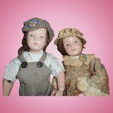 Antique Wood Schoenhut Dolls Boy And Girl Couple