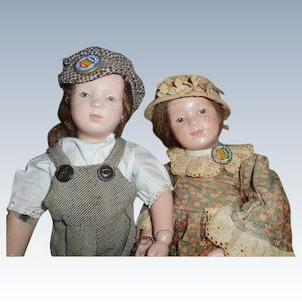 Antique Wood Schoenhut Dolls Boy And Girl Couple