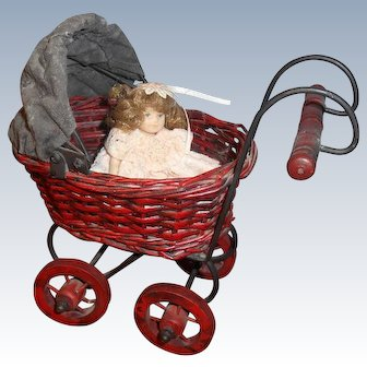 Vintage Doll Size Carriage With Doll