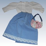 Vintage Blue Cotton Skirt White Blouse Quilted Purse