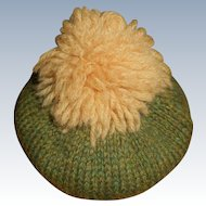 Green Wool Knit Hat Tam With Pom Pom Free Shipping
