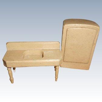 Wood Sink Refrigerator Schoenhut Or Strombecker For Dollhouse Kitchen Free Shipping