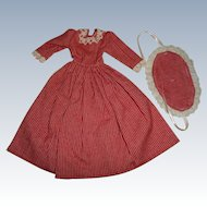 Artist Made Red With White Stripe Dress For Milliner Style Doll