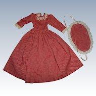 Artist Made Turkey Red White Stripe Dress Milliner or Fashion Doll