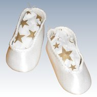 Vintage White Satin Cloth Slipper Style Shoes