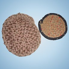 2 Old Miniature Braided Rugs For Doll House