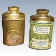 2 Miniature Brass Powder Tins Doll Size
