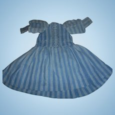 Early Primitive  Blue Stripe Dress for Paper Mache Doll or China Dolls