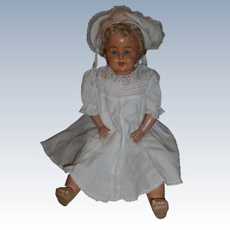 Sweet Antique German Baby Doll Blue Glass Sleep Eyes And Teeth