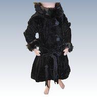 Vintage Long Black Doll Coat Needs TLC
