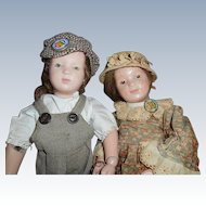 Antique Schoenhut Wood Dolls Boy And Girl Final Sale $599