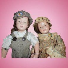 Antique Schoenhut Wood Dolls Boy And Girl Final Sale $599