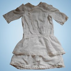 White Drop Waist Lawn Dress For Antique Doll