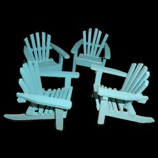4 Wood Blue Lawn Chairs Adirondack Style  Miniatures