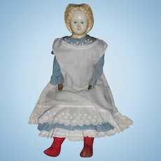 Greiner Paper Mache Blonde Blue Eyed Doll With Clothes