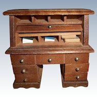 Vintage Miniature Wood Roll Top Desk