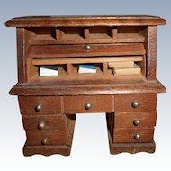 Vintage Miniature Wood Roll Top Desk