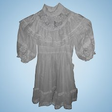 White Cotton Dress Lace and Ruffles For Large Doll