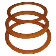 Three Vintage Butterscotch Bakelite Bangle Bracelets