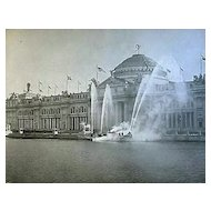 1893 World's Columbian Exposition Fire Boat & Agricultural Building By W.H. Jackson